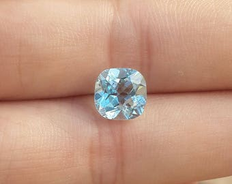 8mm cushion cut, blue topaz, loose gemstone, genuine, sky blue topaz, faceted, beads, 2.7ct around