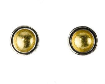 Argentium Silver and 22K Bimetal Gold Earrings