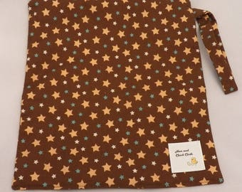 Medium Wetbag- Brown Stars- 3012