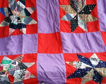 Vintage Hand Sewn Quilt Top, Appalachian Made Hand Quilted, Bright Colors