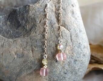 Peach Sea Glass and Crystal Chain Earrings