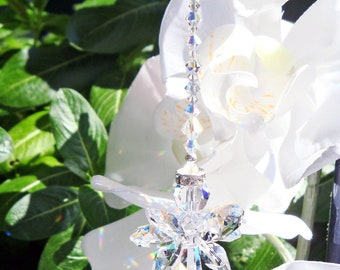 Swarovski Crystal Suncatcher, Angel Sun Catcher, Guardian Angel Window Suncatcher, Gifts for Her, Hanging Crystals