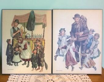 Two vintage Ronald Embleton 'Hokey Pokey Man' & 'Hurdy Gurdy Man'  board prints