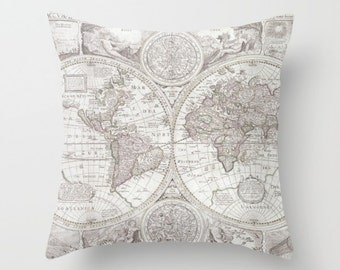 World Map Pillow - soft gray Map of the World throw Pillow-  travel Decor - modern home, apartment, dorm, wanderlust