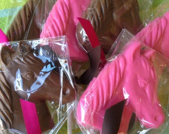 Horse Chocolate Lollipops - Cowgirl Party - Cowboy Party Favor - Farm Party - Rodeo - Western Chocolate Lollipop - Pony Lollipop - Birthday