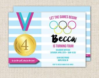 Olympics birthday party invitation, girls olympics party, sports birthday party, gold medal party, let the games begin, printable invitation