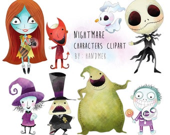 Nightmare characters clipart, Halloween clipart : instant download, PNG file - 300 dpi