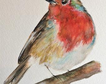 "Robin 12"" x 10"" Original watercolour painting"