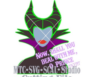 SVG Cut File Maleficent and Quote 02 MTC SCAL Silhouette Cutting Files