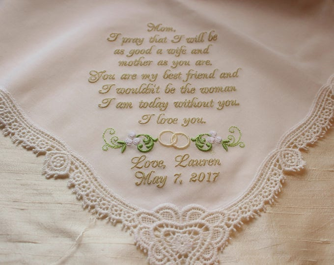 Mother of the Bride Gift, Wedding Handkerchief, Embroidered Handkerchief, Mother Gifts, Wedding Hankies,