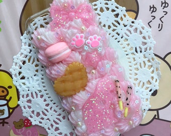 Pastel Pink Sweets Kitten Decoden Case for iPhone 7