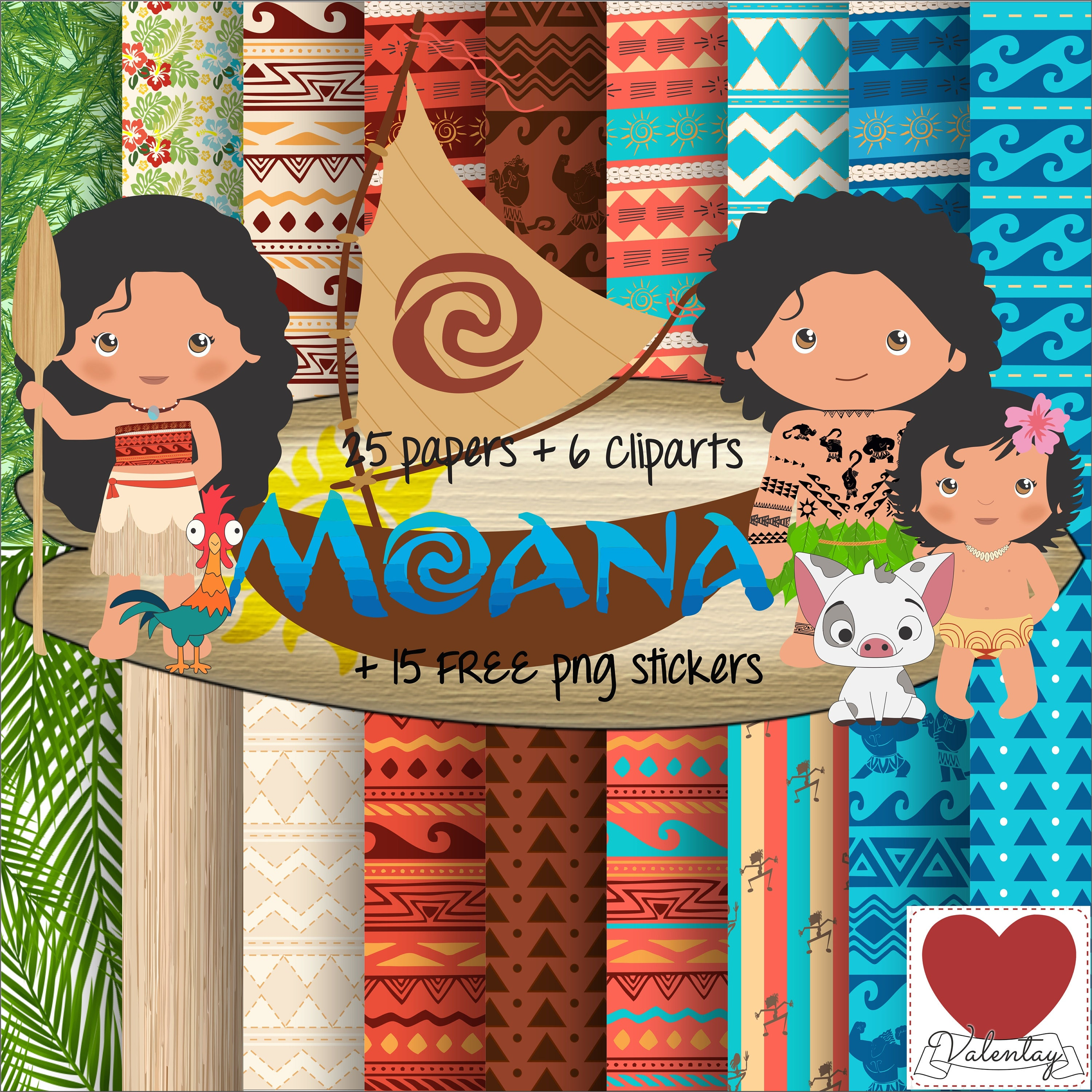 Moana Digital Paper Kit Digital Moana Cute Clipart Moana ...