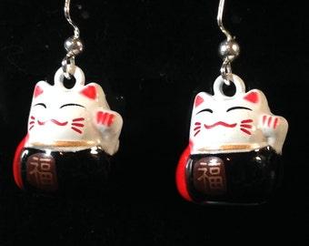 Maneki Neko Earrings, metal, bell, charm, lucky cat, tuxedo cat, kitty, kitteh, jewelry, dangle, light, beckoning cat, good luck, prosperity