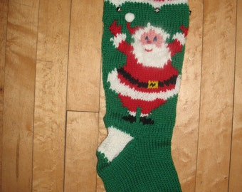 Hand Knit  Christmas Stocking  with  Waving Santa/TAKING ORDERS FOR 2016