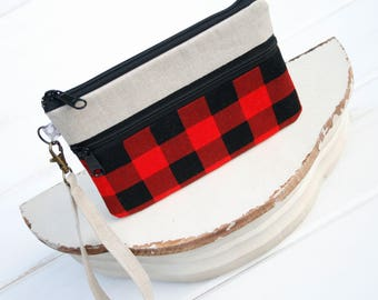 Cell Phone Clutch, zipper pouch for iPhones, Samsung Galaxy Phone Wristlet Made to FIT ALL SIZES and brands- Hipster Buffalo Plaid Black Red