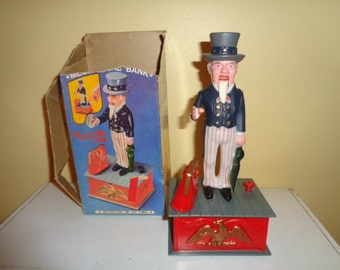 Plastic 1974 Uncle Sam Mechanical Bank w/Box Hong Kong