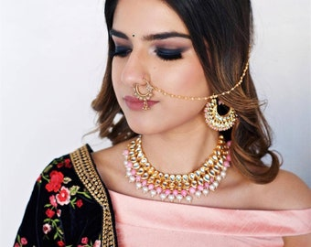 Pink and Gold Kundan Choker with Pearls, Indian Jewelry Set, Pink Jewelry Set, Kundan Jewelry, Dupatta, Indian Jewellery Set with Earrings
