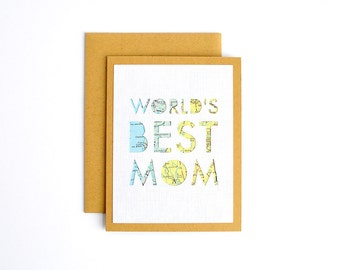 Mothers Day Card, Card for Mom, Mom Day Card, Worlds Best Mom Greeting Card, Handmade Card for Mom or Stepmom, Card for Her, Mother's Day