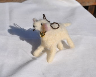 Sheep needle felted with raw wool roing