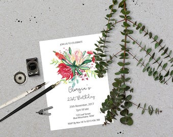 Birthday Invitation inspired by Australian botanicals //  Australian Invitation // Floral Birthday Invitation // eucalyptus