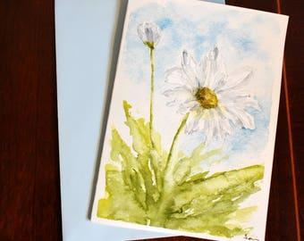 Daisy Original Watercolor painting card A6