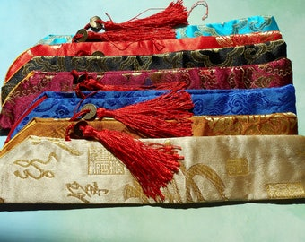 Hairstick Holders - embroidered silk hairstick bags