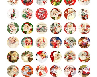 Digital Clipart, instant download, Vintage Christmas bottle cap Santa Claus Saint Nick sleigh--Digital Collage Sheet (8.5 by 11 inches) 1429