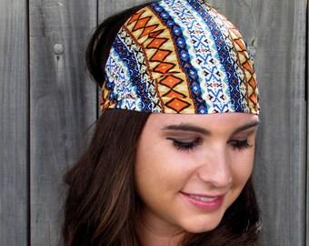 Satin Lined Wide Headband Turban Headband Matte Yoga Headband Red Blue White Yellow Bohemian Aztec Headband Womens Hair Accessories