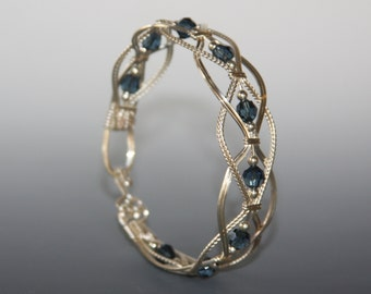 Wire wrapped bangle, wire wrapped bracelet, Braided Bangle Bracelet, Swarovski Crystal Bracelet, made to order