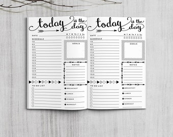 Printable Bullet Journal Daily Plan Inserts, Pocket Size Daily Spreadsheet, Printable Field Note arrows daily planner inserts, PDF file