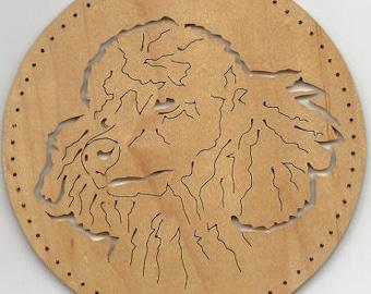 109 Poodle, pine needle basket base, dog