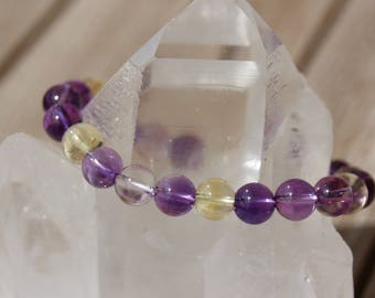 Bracelet with amethyst and citrine beads