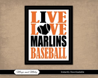 Marlins park etsy miami marlins wall art baseball printable sports fan gift idea live love i heart malvernweather Choice Image