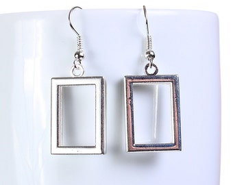 Silver rectangle dangle earrings (657)