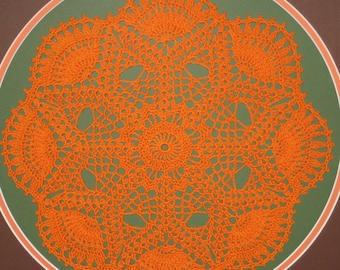 Framed Crochet Motif Doilie, Pumpkin and Eggplant, Ready to Ship