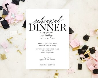 2018 SALE: Rehearsal Dinner invitation template, rehearsal printable, modern, invitation templates, wedding rehearsal, pdf instant download