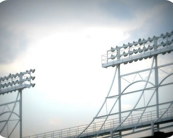 Chicago Photography, Wrigley Field photo, baseball, Cubs, sports, gray, white, pattern, men, neutrals, lines - LIGHTS AT WRIGLEY