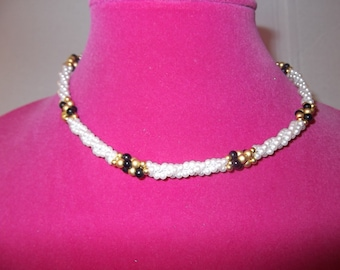 Ann Klein Faux White pearls, Gold and Black Beads