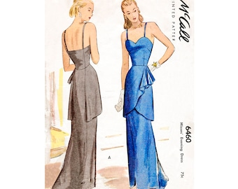 1940s 40s evening dress pattern cascade ruffles PICK YOUR SIZE Bust 30 32 34 36 38 vintage sewing repro