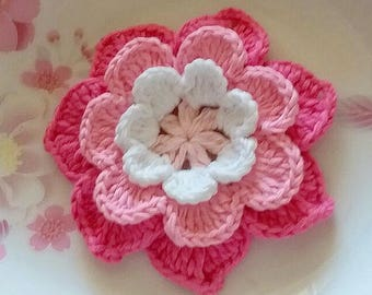Crochet Flower in 4 inches in Lt Pink, White, Pink, Hot Pink YH - 246