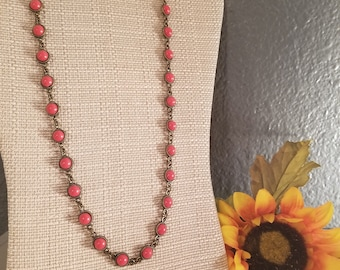 Copper and Red Necklace