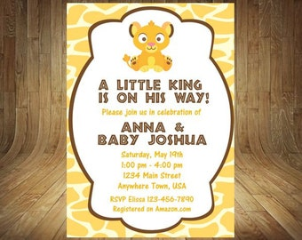 Lion king baby shower invitation jungle invitation disney lion king baby shower invitation simba baby shower invitation lion king baby shower filmwisefo Images