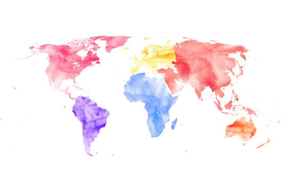 Items Similar To Digital Clip Art Instant Download PNG World Map Watercolor Multicolored Yellow