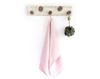 Blush Pink Tea Towel made of stone washed linen