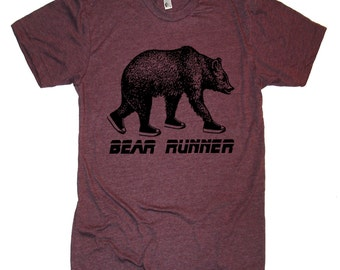 Grizzly Bear Runner T Shirt - Mens Tshirt - S M L Xl Xxl (5 Color Options)