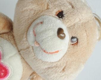 Vintage Care Bear Plush Toy - TENDERHEART BEAR -  Heart Bear Stuffed Animal Retro Cartoon Kids Birthday Baby Shower 80s Kenner Collectible