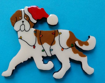 St Bernard Christmas Pin, Magnet or Ornament-Free Shipping-Hand Painted- Free Personalization Available