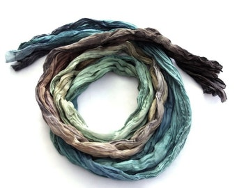 Colorful dyed scarf, silk scarf, ombre scarf, hand painted scarf, crinkle, long, coast, fashion, blue brown, gift for him Bohemian clothing