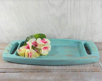 Shabby chic serving tray, wicker covered handles, serving tray, coffee table tray, ottoman tray, distressed light turquoise