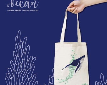 Totebag screen whale - under the sea